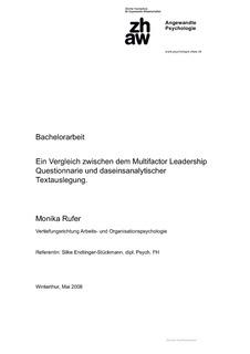 Bachelorarbeit Ein Vergleich Zwischen Dem Multifactor Leadership