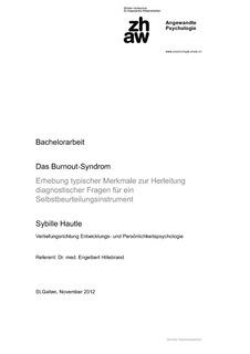 Bachelorarbeit Das Burnout Syndrom Erhebung Typischer Merkmale Zur