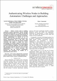 Authenticating Wireless Nodes in Building Automation: Challenges and