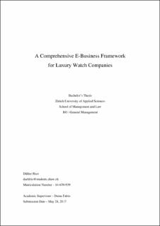 A Comprehensive E-Business Framework for Luxury Watch Companies