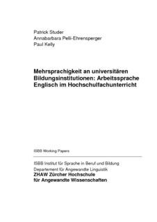 Mehrsprachigkeit an universitären Bildungsinstitutionen ...